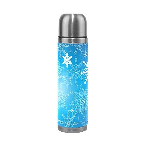 JSTEL Wasserflasche mit Schneeflocken, Edelstahl, Vakuum-isoliert, auslaufsicher, Doppel-Vakuum-Flasche für heiße Kaffee oder kalte Tee, 500 ml