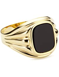 Bella Donna Herren- Ring 333 Gelbgold 1 Onyx Antik 11x9 mm