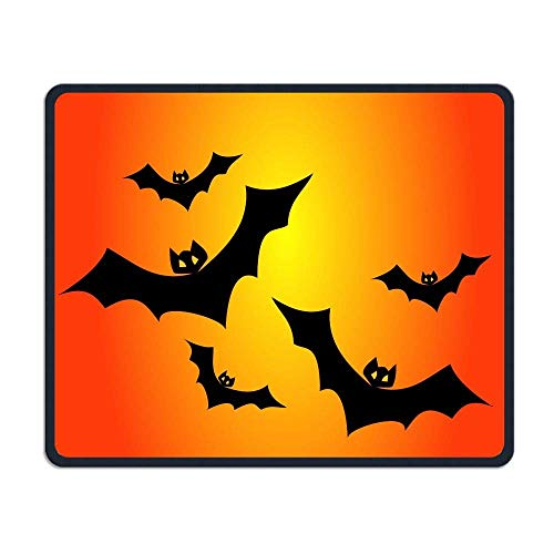 Deglogse Gaming-Mauspad-Matte, Smooth Mouse Pad Bats and Orange Halloween Mobile Gaming Mousepad Work Mouse Pad Office Pad (Pics 100 Halloween Spiel)
