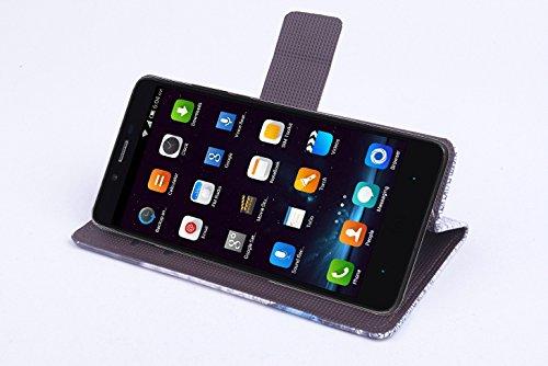 Baiwei Pu Leder Kunstleder Flip Cover Tasche Handyhülle Case Mit Halterung und Karte Slot für Kazam Tornado 348 (Mode 1)