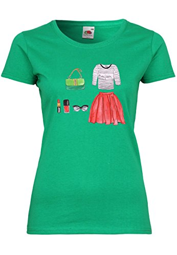 METRA UL43 F288N Damen T-Shirt mit Fashion Motiv Rock Party, Größe:XL, Farbe:Kelly Green