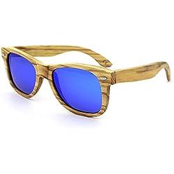 Wanlianer Gafas de Sol Lentes de Sol de Madera Cebra Natural protección polarizada de la Lente UV para Hombres Mujeres (Color : Azul)
