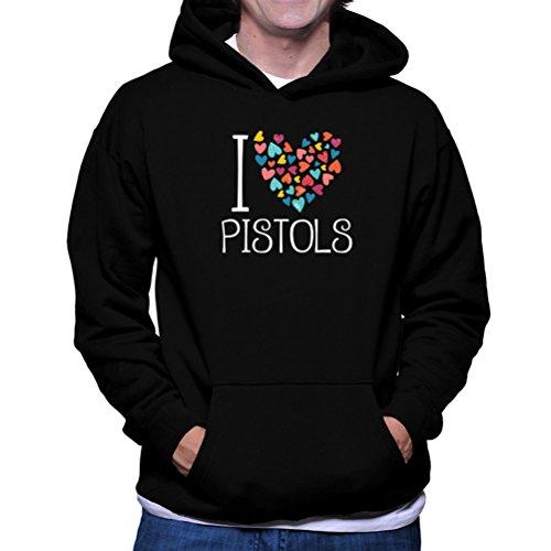 Felpe con cappuccio I love Pistols colorful hearts
