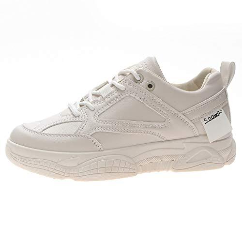 WOZOW Scarpe da Donna Scarpe Sportive Sneaker Moda Casuale Sport All'aperto Estate Scarpe Uomini Allacciare Scarpe da Ginnastica Beige 38.5EU