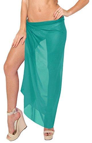 LA LEELA Basic Plain Beach WEar Cover ups Sarong Wrap Boho Plain Dresses Resort Pool Wear - Blue -