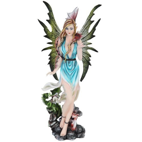 Spring Fairy with Wings and Baby Dragons Mystical Statue Figurine by PTC (Spring Fairy Wings)