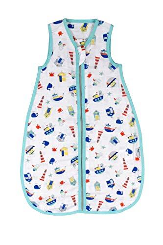 Schlummersack Baby Sommerschlafsack ungefüttert aus Bambus-Musselin 0.5 Tog - Boote - Jungen - 0-6 Monate/70 cm - 70% Bambus