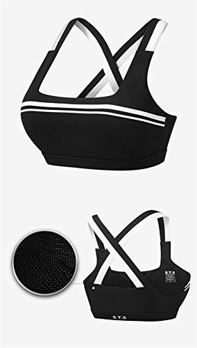 YeeHoo Soutien-gorge de sport à la mode et à la mode à la mode en croix en cuir avec coussinets amovibles Noir