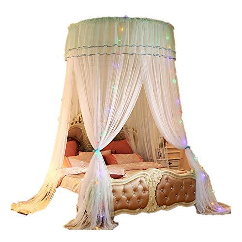 DUOYIZI Mosquito NET Baldachin Bett Vorhang für Mädchen & Erwachsene Prinzessin Schlafzimmer Dekoration Einfache Installation System Cute Cozy Drape Runde Netting (Weiß)
