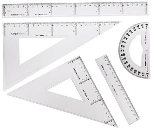 Makro Paper RTS/600318 - Set de dibujo con dos reglas, cartabón, escuadra y semicírculo