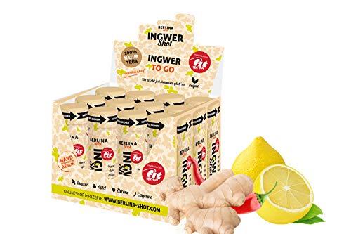 Berlina Ingwershot Box - 12 Shots á 60ml - frisch gepresster Ingwerdirektsaft, naturtrüber Apfel- und Zitronendirektsaft + Cayennepfeffer. - Natur-trunk