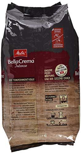 Melitta Ganze Kaffeebohnen, 100 % Arabica, starkes Aroma, intensiver Geschmack, Stärke 4, BellaCrema Intenso, 1 kg