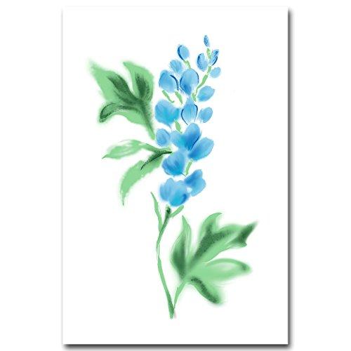 SANQINGER Aquarell Werk Blaue Blume Art Canvas Poster Malerei Wand Bild Home Dekoration, 30 X 40 cm Ohne Rahmen Bild 2 (Canvas Blumen-art)