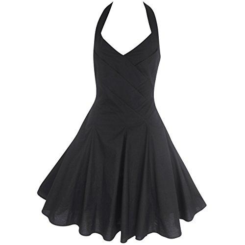 LOOKFORTHESTARS Damen Neckholder Kleid schwarz schwarz 40 Schwarz