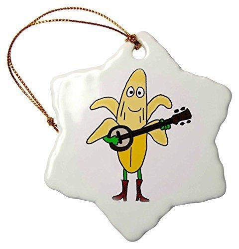 Christmas Gifts Funny gelb Banana spielt die Banjo Cartoon Weihnachts Porzellan Decor Schneeflocke Ornament Home Dekorationen Aufhängen Crafts