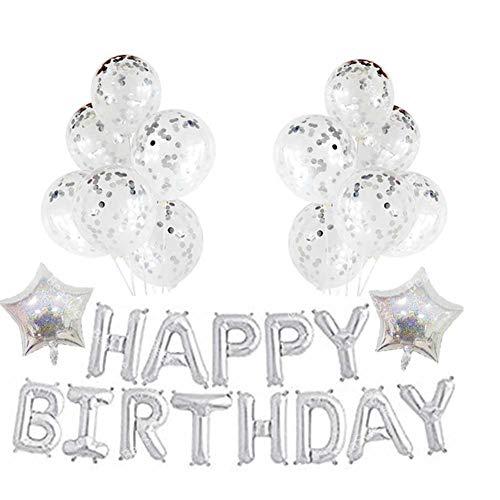 Globos Set Fiesta Celebración Oro Rosa Plata Confeti Grande Aluminio Látex purpurina globos para cumpleaños, plateado