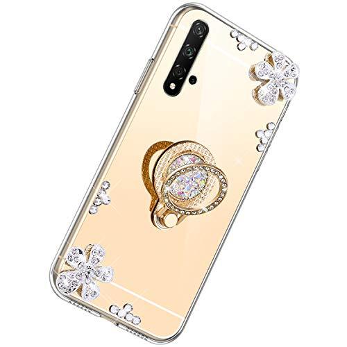 Herbests Kompatibel mit Huawei Honor 20 Glänzend Diamant Kristall Strass Glitzer Spiegel TPU Handyhülle Handytasche Silikon Schutzhülle TPU Bumper Case mit Handy Fingerhalterung,Gold