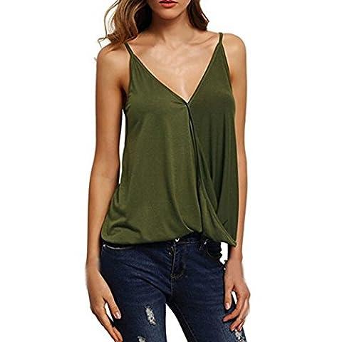 Débardeur Femme, Tonsee Été Sexy sans manches Réservoir Crop Tops veste T-shirt (XL, Armée Verte)