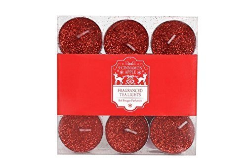 9 x Cinnamon & Apple Flavour Red Glitter Tea Light Candles Tealite Christmas by The Home Fusion Company
