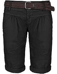 92ed97502d1b Fresh Made Sommer-Hose Bermuda-Shorts für Frauen   kurze Chino-Hose mit  Flecht-Gürtel   Basic Shorts aus…