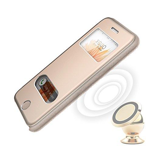 iPhone 6, 6s Custodia OKCS® Allumino Cuoio Bumper Protezione Custodia Flip Cover Case - en Nero Oro