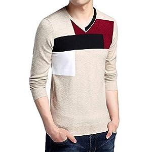 JUSTSELL Langarmshirts Pullover Herren Herbst Winter, Männer Strickwaren Sweatshirt V-Ausschnitt Bekleidung Oberteile Colour-Blocking Pullover
