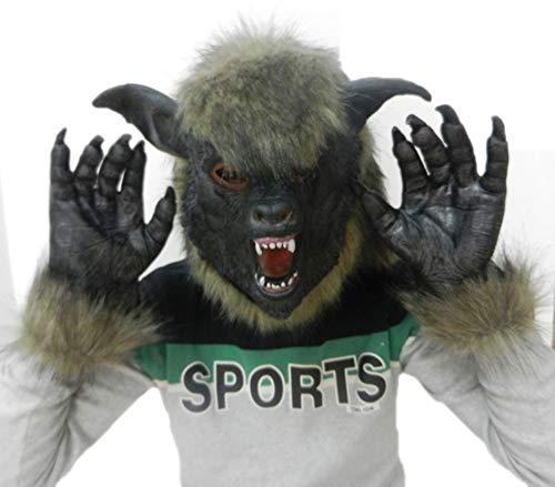 JASNO Deluxe Neuheit Horror Halloween Scary Kostüm Party Latex Tier Wolf Kopf Maske Mit Handschuhen Set Maskerade Requisiten (Wolf Kostüme Scary)