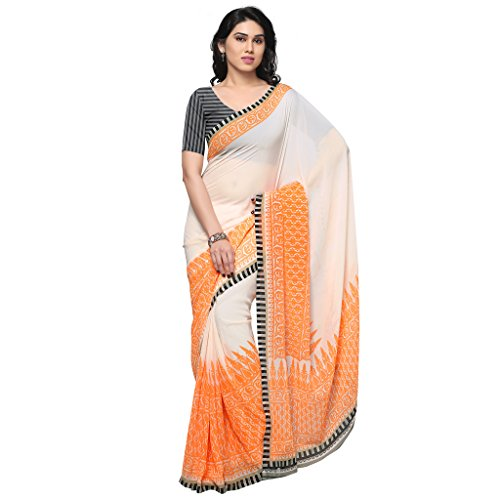 Kashvi Sarees Faux Georgette Orange & Multi Color Printed Saree With Blouse Piece ( 1193_3 )  available at amazon for Rs.249