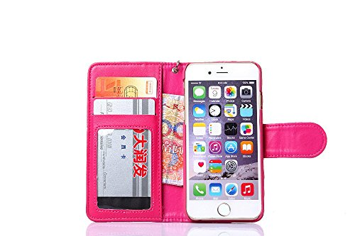 Pour iPhone 6 Plus/6s Plus Cas, iNenk® PU Cuir téléphone Shell Agneau Sangle Grille Modèle Porte-monnaie Phone Cas Retro Carte Couverture Pour Femmes-Rose rouge Rose rouge