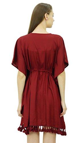 Bimba Damen Kleid Mit V-Ausschnitt Quaste Kaftan Kurze Tunnelzug Taille Kaftan Beachwear Vertuschung Kastanienbraun