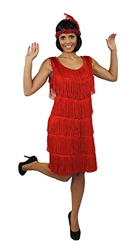 ILOVEFANCYDRESS Charleston Flapper KOSTÜM Kleid VERKLEIDUNG 4 Farben+PASSENDEM Stirnband+Feder+SILBERNEN Kette MUß VERKNOTET Werden=Kleid FRANSEN AUF BEIDEN Seiten=ROT-MEDIUM -