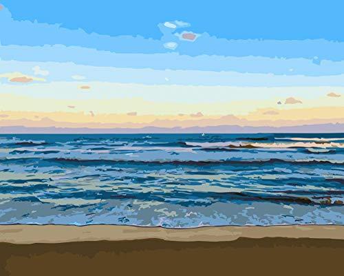 ouhouer Handmalerei Handtuch Digitale malerei handgemachte Palette DIY ölgemälde acrylfarbe malerei auf Landschaft leinwand landschaftsmalerei (kein Rahmen) - C_30 * 45cm