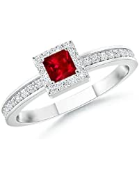 Square Ruby Stackable Ring for Women with Diamond Halo (3mm Ruby)