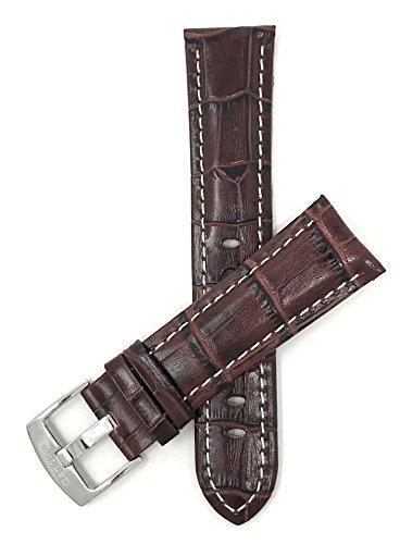Extra Lang (XL) Leder Uhrenarmband 20mm für Herren, Braunmit weißer Naht, Hochglanzoberfläche, Alligatormuster, auch verfügbar in schwarz, weiß, königsblau und hellbraun