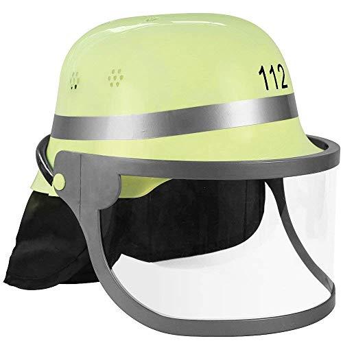 Nerds Kinder Kostüm Mädchen - Nerd Clear Feuerwehrhelm für Kindern | Aufdruck 112, Klappvisier & Nackenschutz | authentischer Look mit deutschem Design | gelb & schwarz |