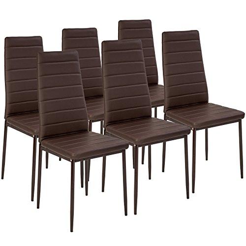 TecTake Set di 6 sedie per sala da pranzo 41x45x98,5cm marrone