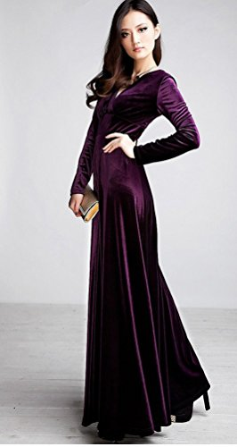 Ghope Damen Abendkleid Elegant Cocktailkleid V-Ausschnitt Lange Arm Maxi Party Kleid Lila