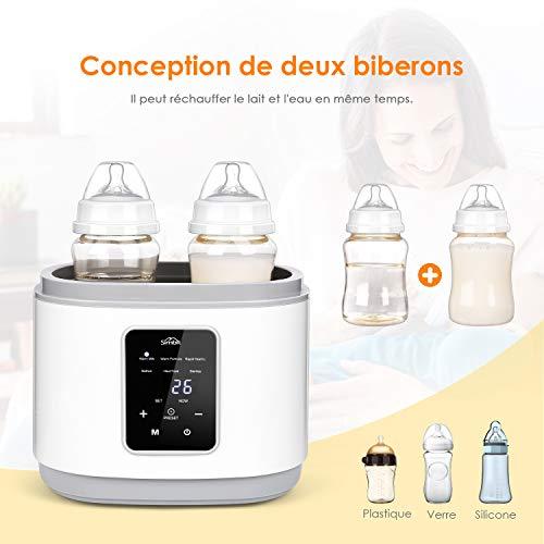 SIMBR Chauffe Biberon, Stérilisateur Électrique Numérique Multifonctions 6 en 1 pour Bébé, 270W, Arrêt Automatique et Contrôle Précis de la Température, sans BPA