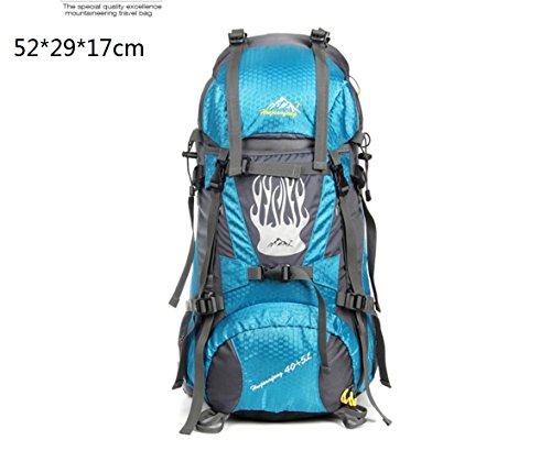 LQABW Outdoor-Nylon Oxford Tuch Wasserdichtes Haltbares Rucksack-Spielraum Klettern Leichter Rucksack Breatherdbebensicher Reduzierte Tasche 55L LightBlue