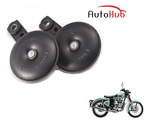 Auto Hub Uno Minda Bike Horn Set For Royal Enfield Classic 350 - Set of Two (Black)  available at amazon for Rs.499