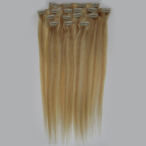 100% cheveux remy Lot de 8 Blond 38,1 cm Highlight (# 27/613) cheveux raides à clipser pour extension de cheveux Poids : 100 g