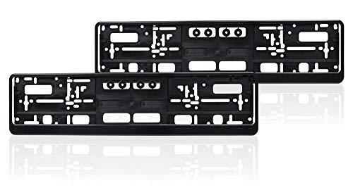 autooptimierer.de Kennzeichenhalter Set Auto Schwarz Nummernschildhalter Pkw Kennzeichenhalterung Nummernschild (2 Stück)