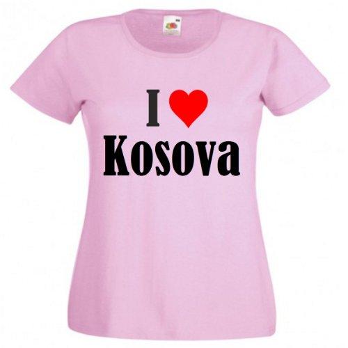 """T-Shirt """"I Love Kosova"""" für Damen Herren und Kinder in Pink Pink"""