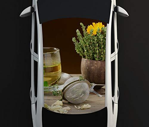 Digitaldruck Autoaufkleber Dach Kräutertee Tee Tasse Blumen Margerite Kräuter Küche Auto Tuning bunt Aufkleber Airbrush Racing Autofolie Car Wrapping CA582, D Aufkleber Größe:115cmx205cm -