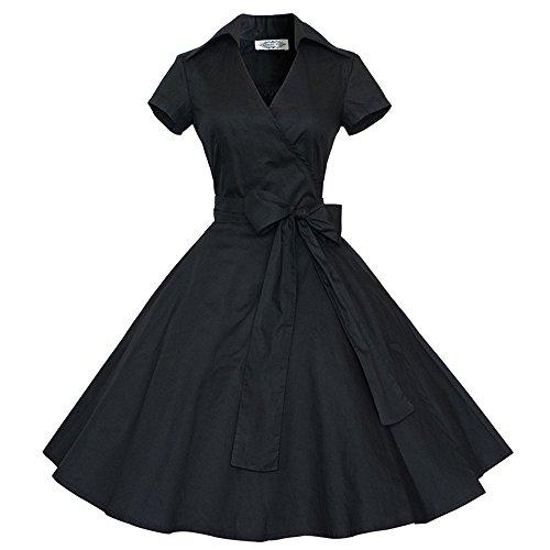 Dabag -Retro Polka à points de genou longueur couleur pure taille serrée été cou V robe swing grand noeud papillon bal style (XXL, Noir-2) Noir