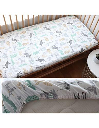 HAZUQU Bettlaken Baby Spannbetttuch Für Neugeborene Baumwolle Weiche Krippe Bettlaken Für Kinder Matratzenbezug Protector 130X70 cm, Tiere,