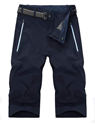 KEFITEVD Herren Outdoor Shorts 3/4 Funktionshose Atmungsaktiv Freizeit Hose Quick Dry Kurz Trekkinghose Reisen Bergtouren Sommer Shorts Dunkelblau 54/XL (Etikett: 5XL)