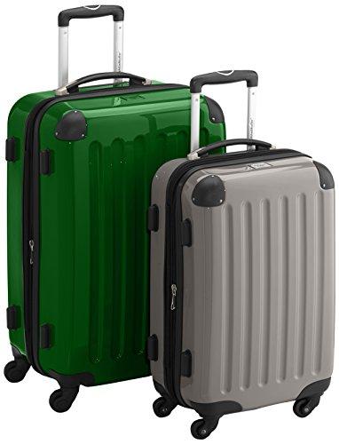 HAUPTSTADTKOFFER - Alex - 2er Koffer-Set Hartschale glänzend, TSA, 65 cm + 55 cm, 74 Liter + 42 Liter, Orange-Aubergine MetallGrün-Graphit
