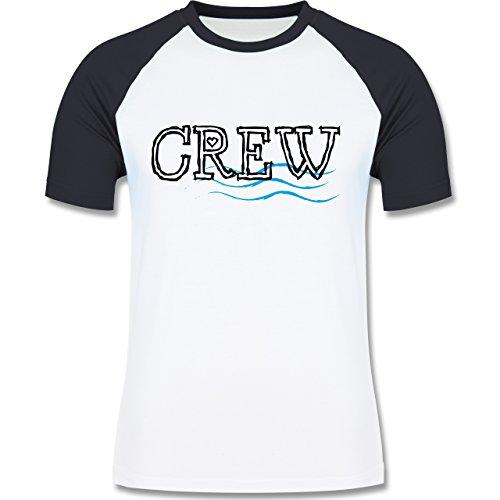 JGA Junggesellenabschied - Crew - zweifarbiges Baseballshirt für Männer Weiß/Navy Blau