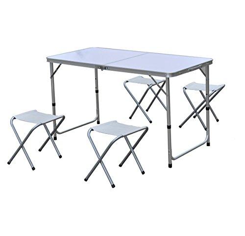 Ensemble de 5 pièces en aluminium : Table pliante + 4 tabourets - Coloris BLANC